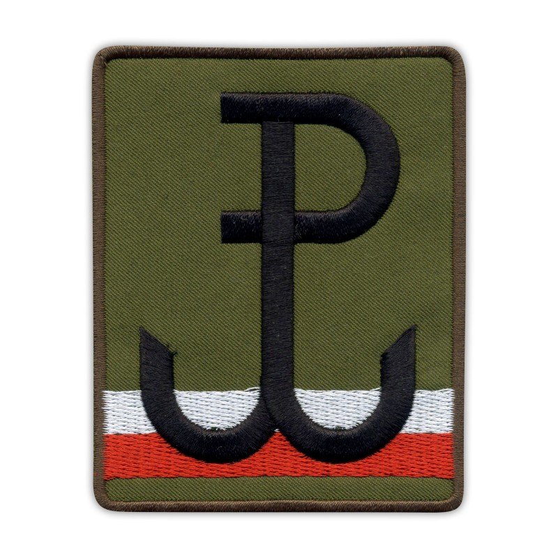 Fighting Poland Anchor with polish flag - olive