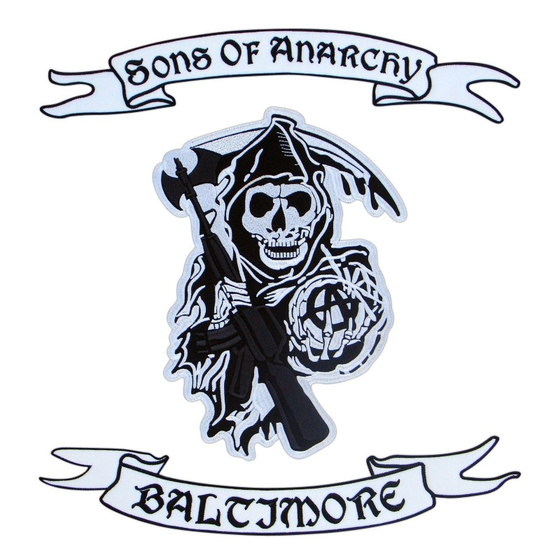 Sons of Anarchy - logo, upper rocker and lower rocker with your own text