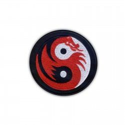 Yin Yang white-black with red dragon