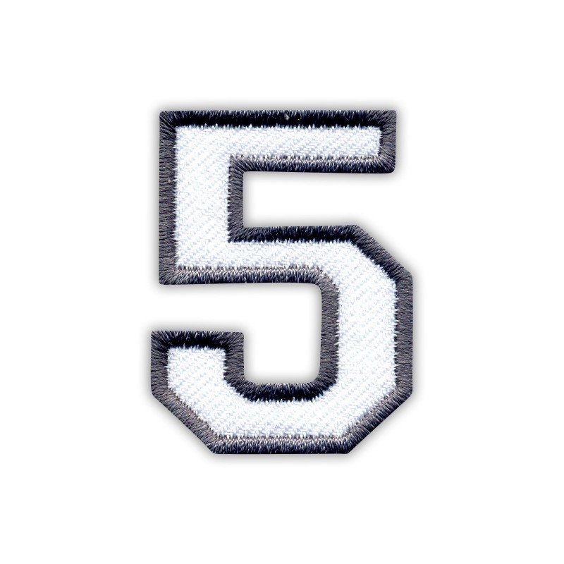 The digit 5 - white