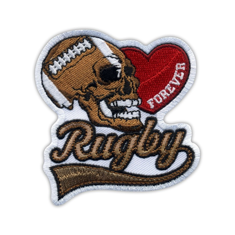 RUGBY FOREVER with heart and skull