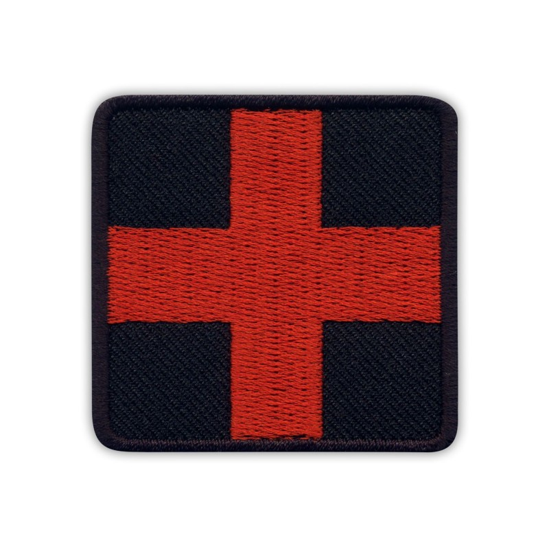 RED Medic Cross on BLACK background - square
