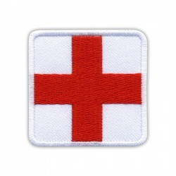 RED Medic Cross on WHITE background - square
