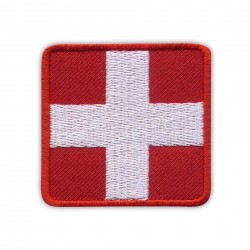 WHITE Medic Cross on RED background - square