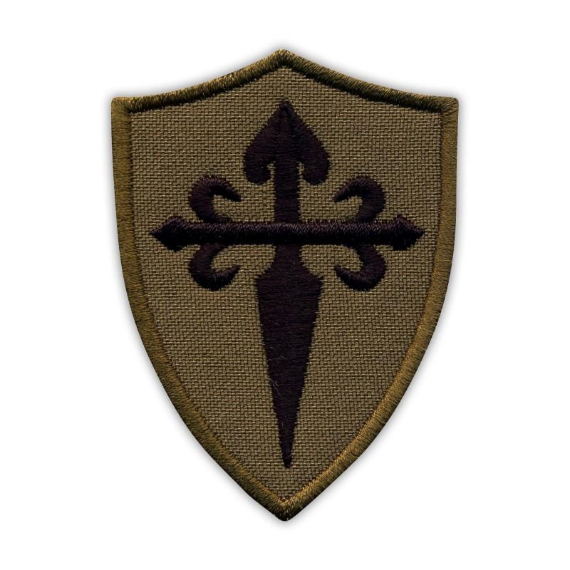 Black Cross of Saint James on the dark olive shield