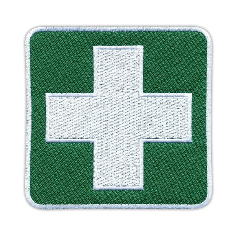 "White cross on Green background - 4"""