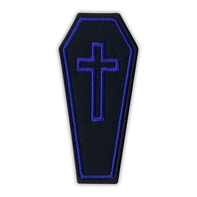 COFFIN with purple cross