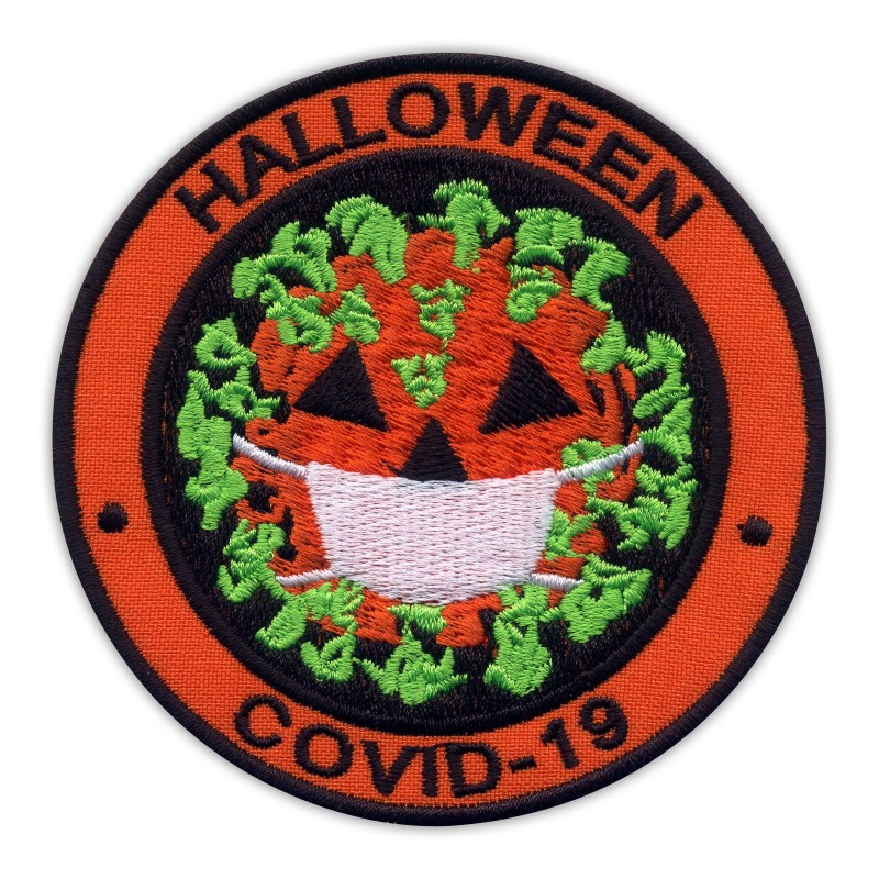 HALLOWEEN - virus as pumpkin with face mask