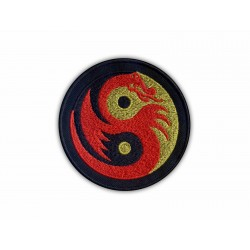 Yin Yang gold-black with red dragon