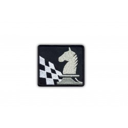 Knight and chessboard-silver