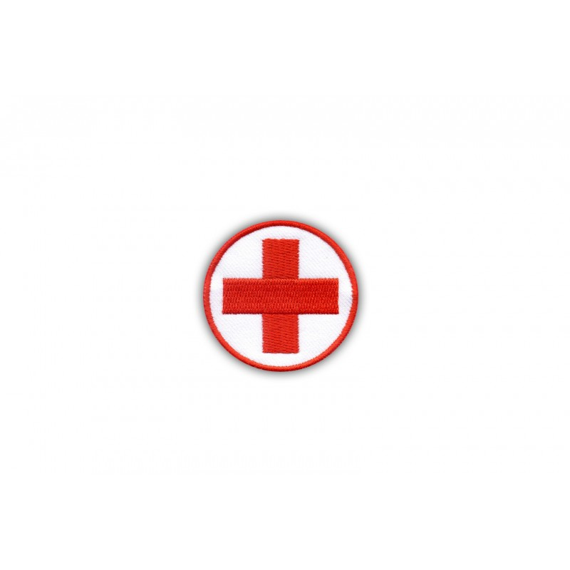 Medical patch - round with a red cross