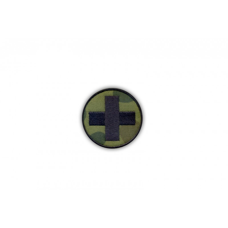 Medical patch - round camouflage with a black cross