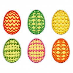 Set of 6 Easter Eggs - Yellow background colour