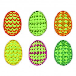 Set of 6 Easter Eggs - Green background colour