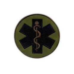 "Star of life - small 2.5"" - Paramedic Cross olive, subdued"