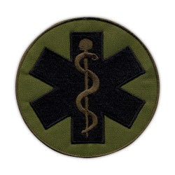 "Star of life - big 3.5"" - Paramedic Cross olive, subdued"