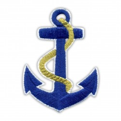 Anchor with gold rope - iron on